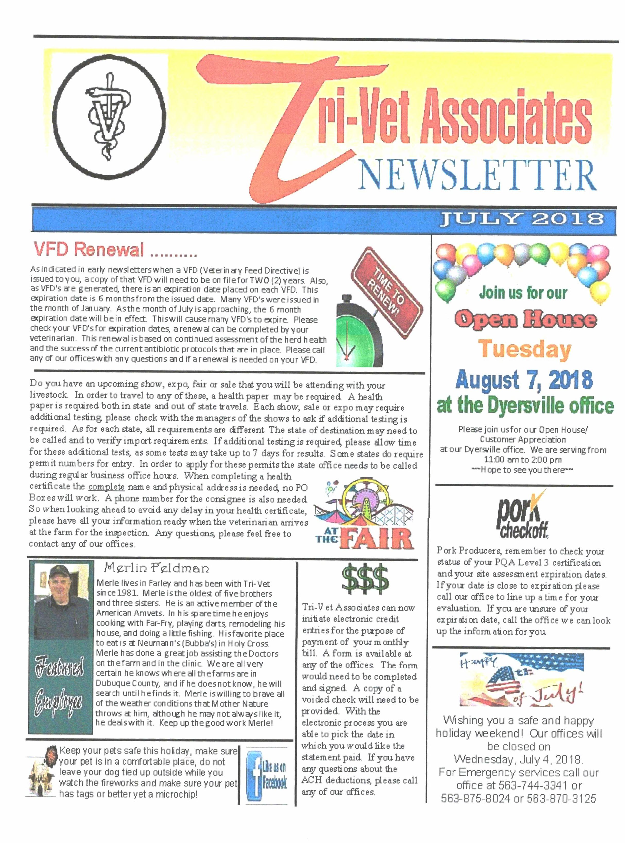TriVet Association Newsletter  July   TriVet Associates Inc